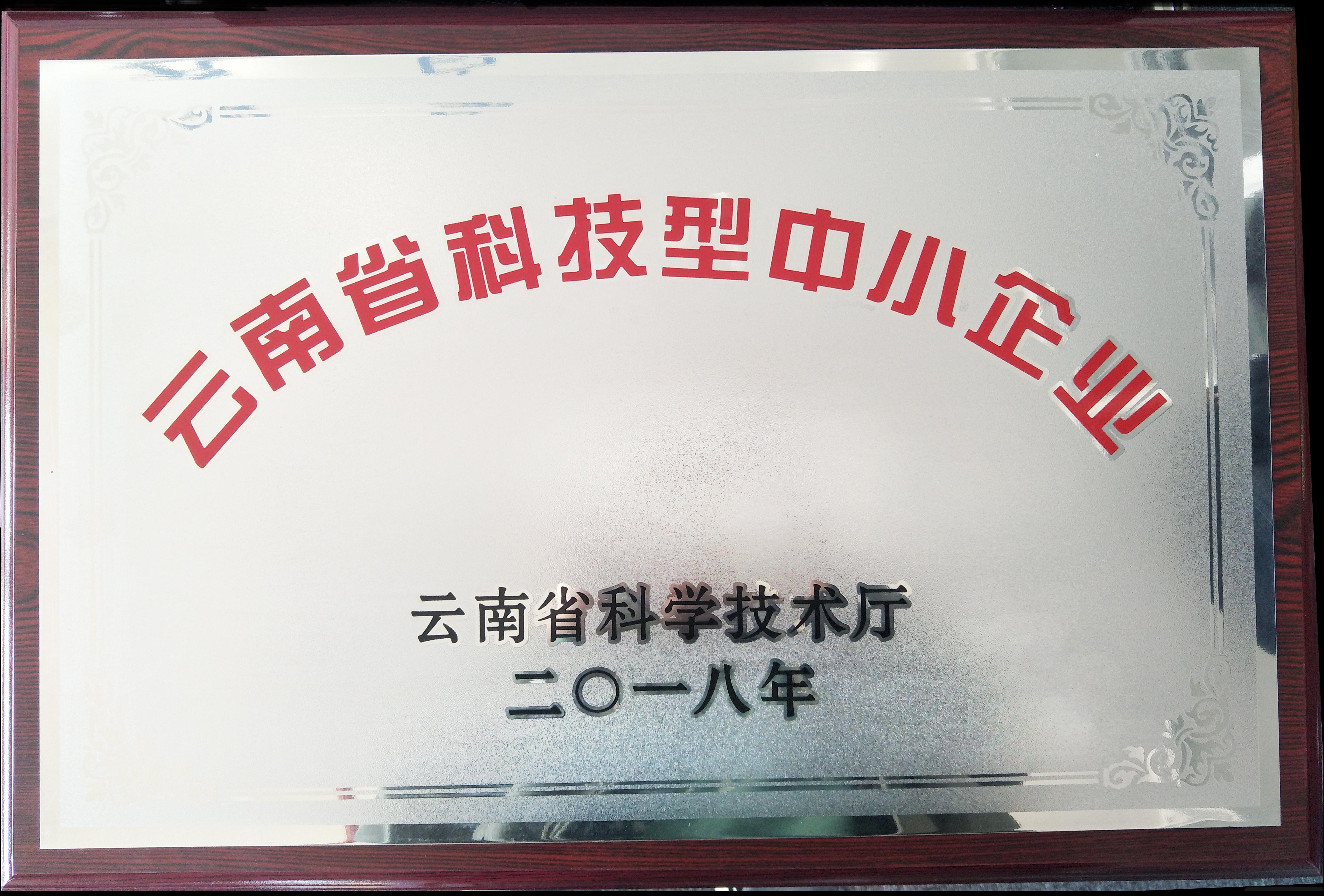 """我司先后被认定为""""国家科技型中小企业""""、""""云南省科技型中小企业""""和""""高新技术企业"""""""